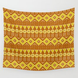 Mudcloth Style 2 in Burnt Orange and Yellow Wall Tapestry