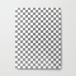 Small Checkered - White and Gray Metal Print