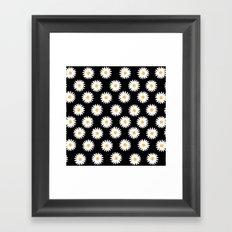 Daisy black pattern Framed Art Print