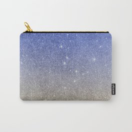Modern sky blue faux gold ombre glitter Carry-All Pouch