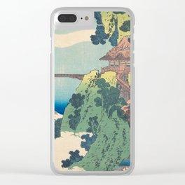 Katsushika Hokusai - The Hanging-cloud Bridge at Mount Gyodo Clear iPhone Case