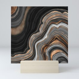 Elegant black marble with gold and copper veins Mini Art Print