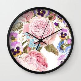 Spring flowers with mandalas Wall Clock