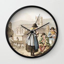 Illustration of Wensley Dale knitters from The Costume of Yorkshire (1814) by George Walker (1781-18 Wall Clock