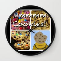 cookies Wall Clocks featuring Cookies by Jolly Songbird