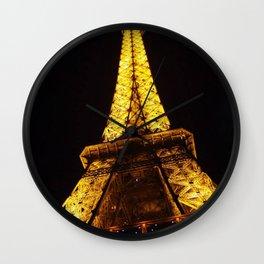 Eiffel Tower at Night Wall Clock