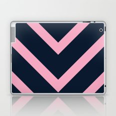 v lines wide - pink and navy Laptop & iPad Skin