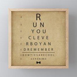 Run You Clever Boy - Doctor Who Inspired Vintage Eye Chart Framed Mini Art Print