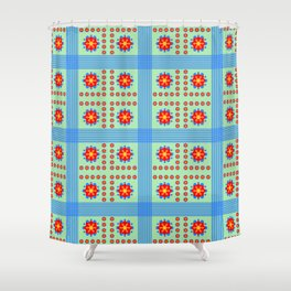 Striped light blue and green background with flowers kl Shower Curtain