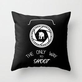 Anti-poaching Elephant for Wildlife Photographers White on Black Throw Pillow