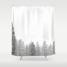 Winterland // Snowy Landscape Photography White Out Winter Pine Tree Artwork Shower Curtain