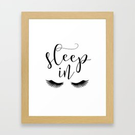 SLEEP IN PRINT, Let's Sleep In,Lashes Decor,Lashes Art,Good Night Print,Teen Girls,Calligraphy Quote Framed Art Print