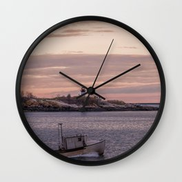 Ten pound Island Lighthouse sunset Wall Clock