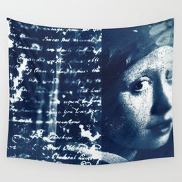 Fragments of the Past (4), art print, collage, blue print, cyanotype print, wall art, wall decor Wall Tapestry