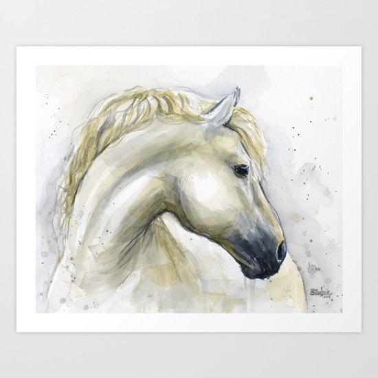 White Horse Watercolor Painting Animal Horses Art Print