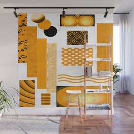 DEEP YELLOW ABSTRACT RETRO ART  WITH ORANGE YELLOW AND BLACK Wall Mural