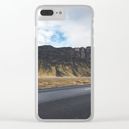A Mountain on the Left. Iceland Landscape. Roadtrip Travel. Photography. Clear iPhone Case