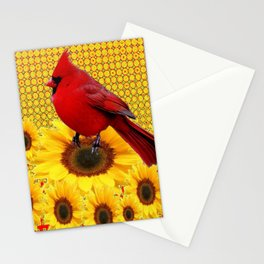 RED CARDINAL YELLOW SUNFLOWERS ART Stationery Cards