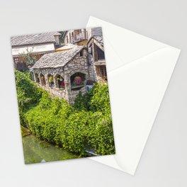 Bosnia and Herzegovina Mostar river Houses Shrubs Cities Rivers Bush Building Stationery Cards