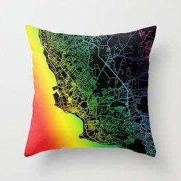 Bridgetown, Barbados, City, Map, Rainbow, Map, Art, Print Throw Pillow