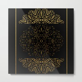 256 15 Tribal Gold on Black Metal Print