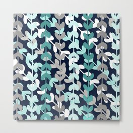 Leaf Foliage Navy Aqua Metal Print