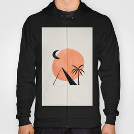 Minimalist Abstract Ink Collage Ancient Egypt Pyramids Tan Circle Desert Landscape by Ejaaz Haniff Hoody