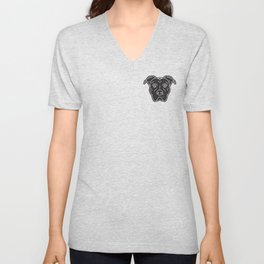 Black Pitbull Head Dog Print Unisex V-Neck