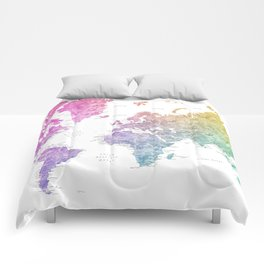 """Rainbow watercolor world map with cities """"Leo"""" Comforters"""