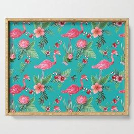 Santa Flamingo Christmas, Holiday Tropical Watercolor Serving Tray