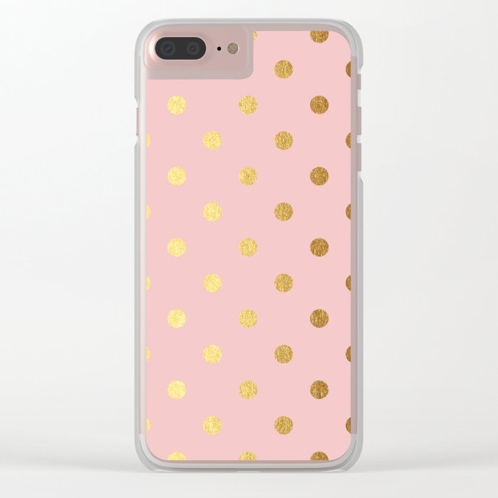 Gold polka dots on rose gold background - Luxury pink pattern Clear iPhone Case