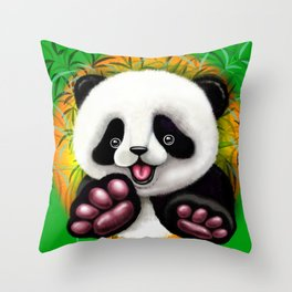 Panda Baby Bear Cute and Happy Throw Pillow