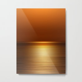Sea at Sunset-Dark Gold Metal Print