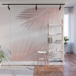 Palm leaf synchronicity - rose gold Wall Mural