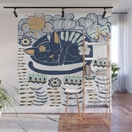 Whimsical Sleeping Folk Art Cat Wall Mural