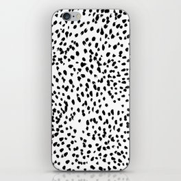 Nadia - Black and White, Animal Print, Dalmatian Spot, Spots, Dots, BW iPhone Skin