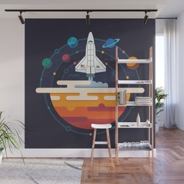 Space Shuttle & Solar System Wall Mural