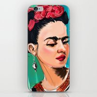 frida iPhone & iPod Skins featuring Frida by Jaleesa McLean