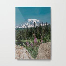 Mount Rainier Wildflower Adventure V - Pacific Northwest Mountain Forest Wanderlust Metal Print