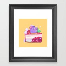 Berry Kitty Cake Framed Art Print