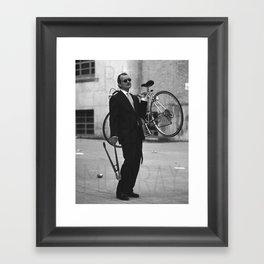 Bill F Murray stealing a bike. Rushmore production photo. Framed Art Print