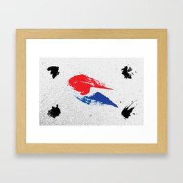 Korean flag gritty brushstroke minimalist Framed Art Print