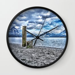 Cloudy day at lake lucerne Wall Clock