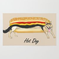 hot dog Area & Throw Rugs featuring Hot Dog by Dano77
