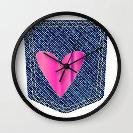 Heart Denim Pocket Wall Clock