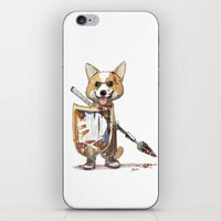 bouletcorp iPhone & iPod Skins featuring Corgi Barbare by Bouletcorp