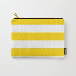 Horizontal Stripes - White and Gold Yellow Carry-All Pouch