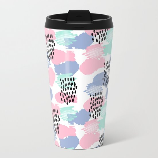Pastel painted pattern minimal mint and pink nursery home decor patterns Metal Travel Mug