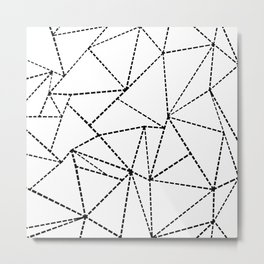Abstract Dotted Lines Black and White Metal Print