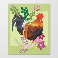 rooster Canvas Prints featuring rooster by Caracheng